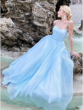 Blue Organza Long Prom Dress