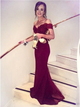 Mermaid Off the Shoulder Short Sleeves Long Burgundy Prom Dress with Lace