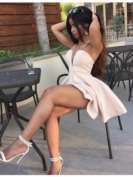 Deep V-neck A-line Sleeveless Short Pearl Pink Homecoming Cocktail Dress