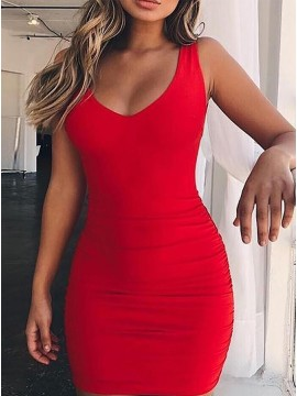 Sheath V-Neck Mini Short Red Backless Sexy Cocktail Dress