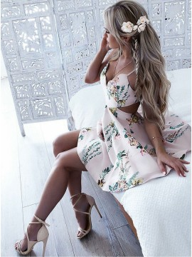 A-Line Spaghetti Straps Backless Short Pearl Pink Printed Homecoming Dress