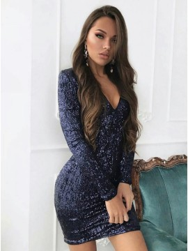 Sheath V-Neck Long Sleeves Short Navy Blue Sequined Homecoming Cocktail Dress