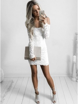 Sheath Off-the-Shoulder Long Sleeves White Short Lace Homecoming Cocktail Dress