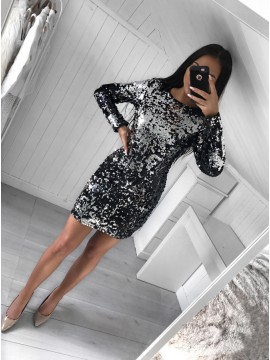 Sheath Crew Long Sleeves Short Black Sequined Homecoming Cocktail Dress