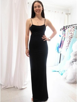 Sheath Backless Spaghetti straps Slit Leg Black Prom Dress