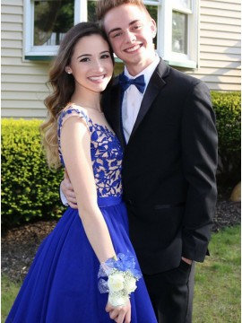 A-Line Round Royal Blue Homecoming Dresses with Appliques