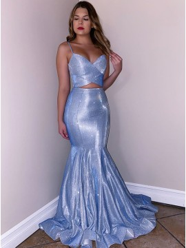 Glitter Light Blue Long Mermaid Prom Dress