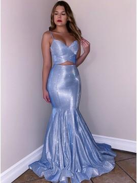 Glitter Light Blue Long Mermaid Prom Dress