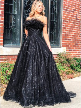 Black Sequins Long Prom Dress