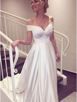 A-line Off-the-shoulder Simple White Long Wedding Dress with Train
