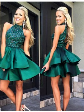 A-Line High Neck Open Back Beaded Tiered Hunter Short Homecoming Dress