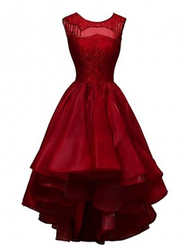 A-Line Crew Sleeveless High Low Red Prom Dress with Lace Sequins