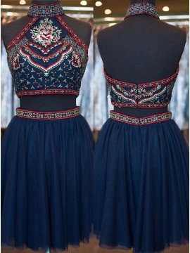 Two Piece High Neck Short Navy Blue Backless Prom Dress with Embroidery