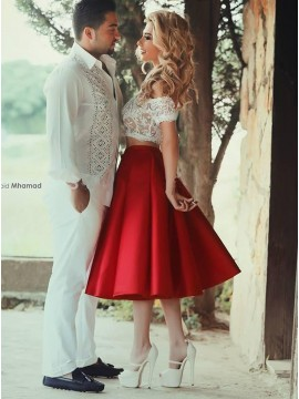 Two Piece Off the Shoulder Red Backless Prom Dress with Lace
