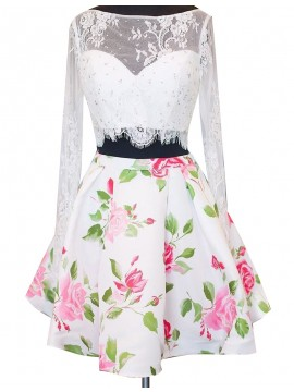 A-Line Bateau Long Sleeeves Floral Lace Short Two Piece Homecoming Dress