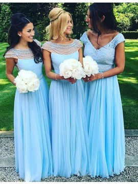 A-Line Bateau Cap Sleeves Blue Bridesmaid Dress with Pearls