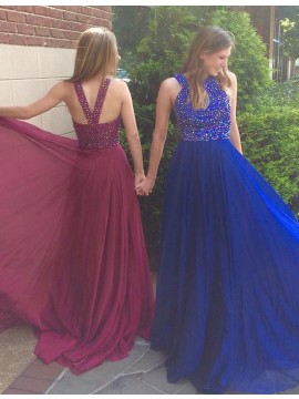 A-Line Crew Criss-Cross Straps Long Royal Blue Prom Dress with Beading