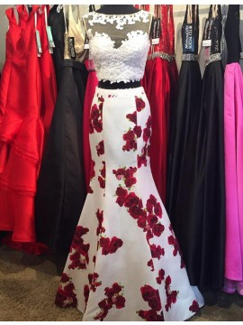 Two Piece Mermaid Floor-Length Floral White Prom Dress with Lace