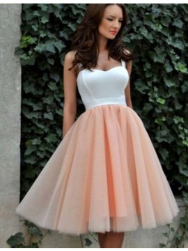 A-Line Straps Sleeveless Knee-Length Peach Homecoming Dress with Pleats