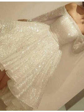 High Low Off the Shoulder Long Sleeves Ivory Prom Dress