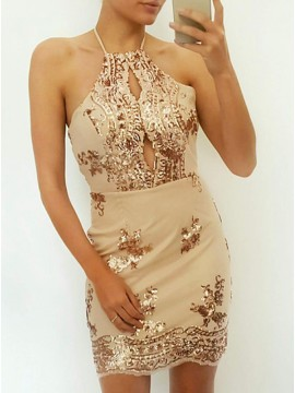 Sheath Halter Sleeveless Short Champagne Cocktail Dress with Keyhole