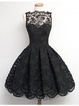 A-Line Bateau Sleeveless Above-Knee Black Lace Homecoming/Prom Dress