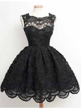 A-Line Square Sleeveless Above-Knee Black Lace Prom Dress