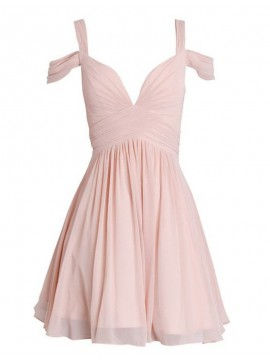 A-Line Straps Above-Knee Open Back Pink Homecoming Cocktail Dress with Pleats