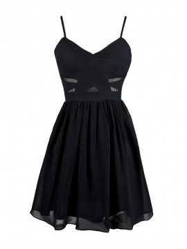 A-Line Spaghetti Straps Sleeveless Black Short Homecoming Cocktail Dress with Pleats