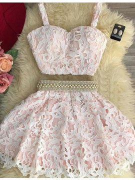 Two Piece Pink Lace Scoop Pearls Short Homecoming Cocktail Dress