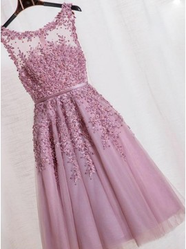 A-Line Crew Neck Lilac Homecoming Dress with Appliques Pearls