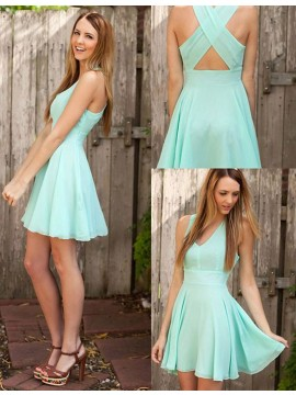 A-Line Deep V-Neck Sleeveless Criss-Cross Straps Mint Short Prom Dress