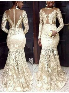 Mermaid Bateau Long Sleeves Illusion Back Ivory Lace Prom Dress