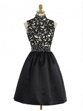 A-Line High Neck Open Back Above-Knee Black Homecoming Dress with Lace Sequins