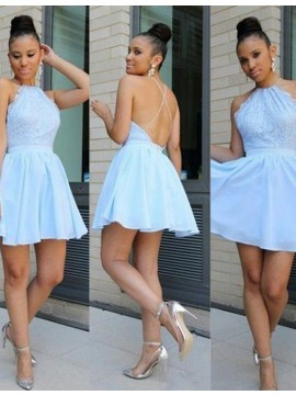 A-Line Jewel Sleeveless Backless Light Blue Lace Short Homecoming Cocktail Dress