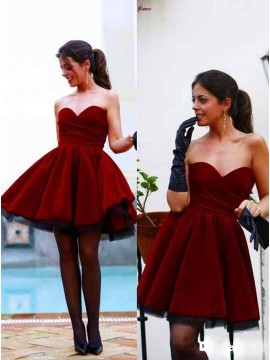 A-Line Sweetheart Short Burgundy Velet Prom Dress with Drap