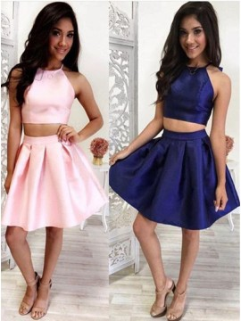 Two Piece Halter Sleeveless Pink Satin Homecoming Dress With Ruched