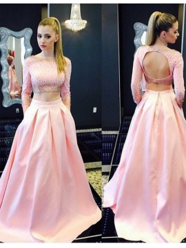Two Piece Bateau Long Sleeves Open Back Pink Prom Dress with Beading