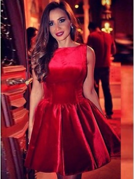 A-Line Bateau Sleeveless Above-Knee Red Satin Homecoming Dress with Ruched