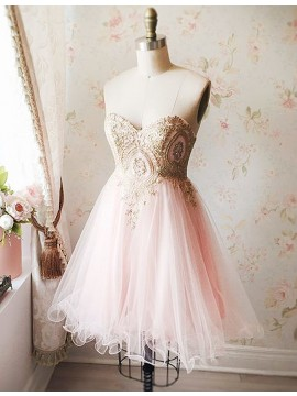A-Line Sweetheart Pearl Pink Tulle Short Homecoming Dress with Beading Appliques