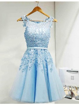 A-Line Crew Light Blue Short Homecoming Dress with Appliques