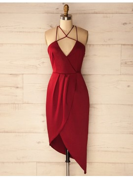 Sheath Halter Asymmetrical Dark Red Satin Homecoming Cocktail Dress