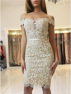 Sheath Off-the-Shoulder Knee-Length Light Champagne Lace Homecoming Dress