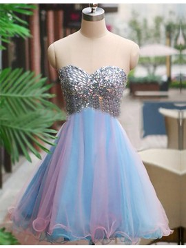 A-Line Sweetheart Multi Color Tulle Short Homecoming Dress with Beading