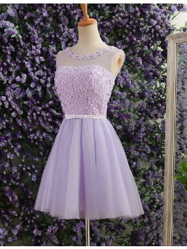 A-Line Jewel Lilac Tulle Short Homecoming Dress with Pearls Appliques Sash