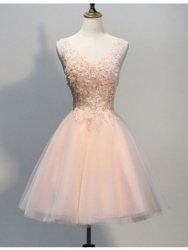 A-Line V-Neck Peach Tulle Short Homecoming Dress with Appliques Beading