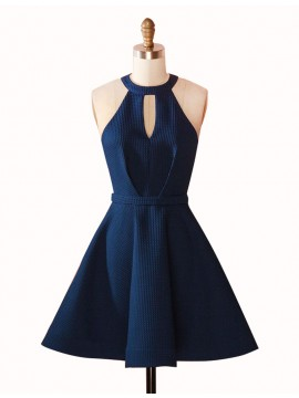 A-Line Jewel Keyhole Dark Blue Satin Short Homecoming Cocktail Dress