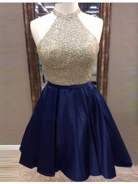 A-Line Jewel Navy Blue Satin Short Homecoming Dress with Beading
