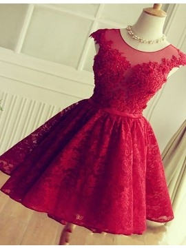 A-Line Jewel Cap Sleeves Red Lace Short Homecoming Dress with Beading