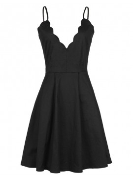 A-Line Spaghetti Straps Backless Black Satin Short Cocktail Dress